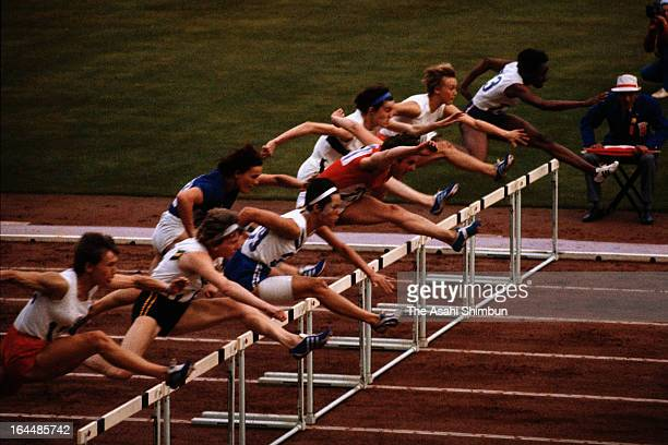 Athletes competes in the Women's 800m Hurdle final during Tokyo Olympic at Tokyo Metropolitan Gymnasium in October 1964 in Tokyo Japan