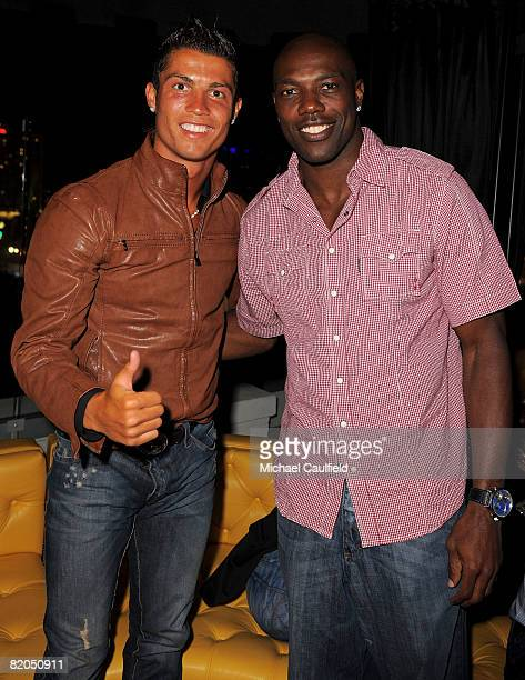 Athletes Cristiano Ronaldo and Terrell Owens during the Premiere of ABSOLUT Los Angeles at The Kress on July 23 2008 in Hollywood California