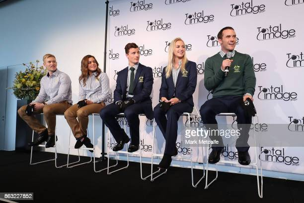 Athletes David Morris Danielle Scott Jarryd Hughes Britt Cox and Matt Graham talk on stage during the Australian Olympic Committee 2018 Winter...