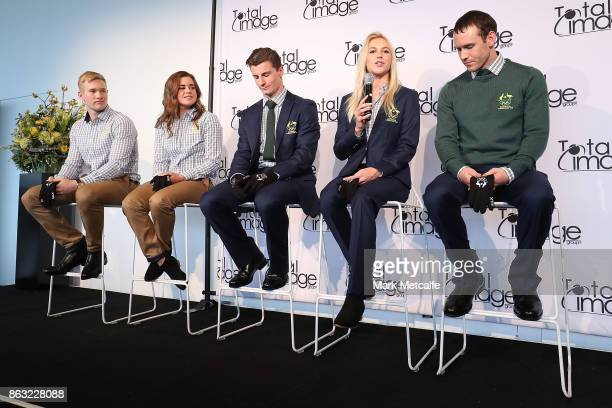 Athletes David Morris Danielle Scott Jarryd Hughes Britt Cox and Matt Graham pose during the Australian Olympic Committee 2018 Winter Olympic Games...
