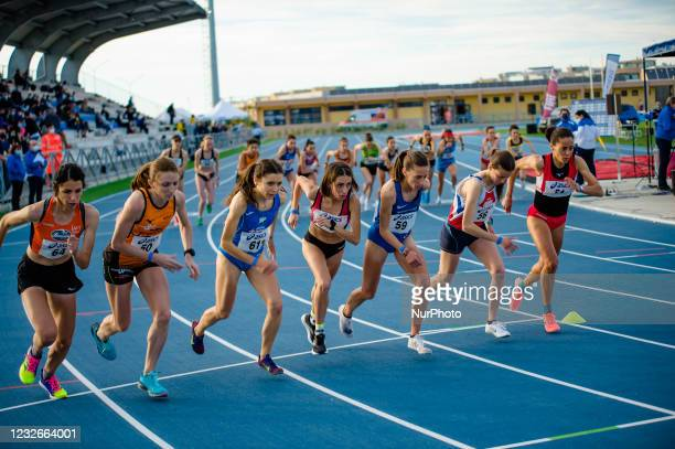 Athletes departing from the athletics track to compete at 10,000 meters in the Mario Saverio Cozzoli stadium in Molfetta on May 2, 2021. In Molfetta,...