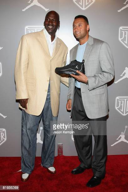 Athletes Derek Jeter and Michael Jordan celebrate Team Jordan athlete Derek Jeter at an exclusive party held at Marquee in New York City during...