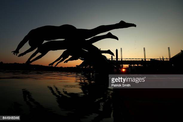 Athletes dive into the water as they compete in the IRONMAN 70.3 Women's World Championship on September 9, 2017 in Chattanooga, Tennessee.