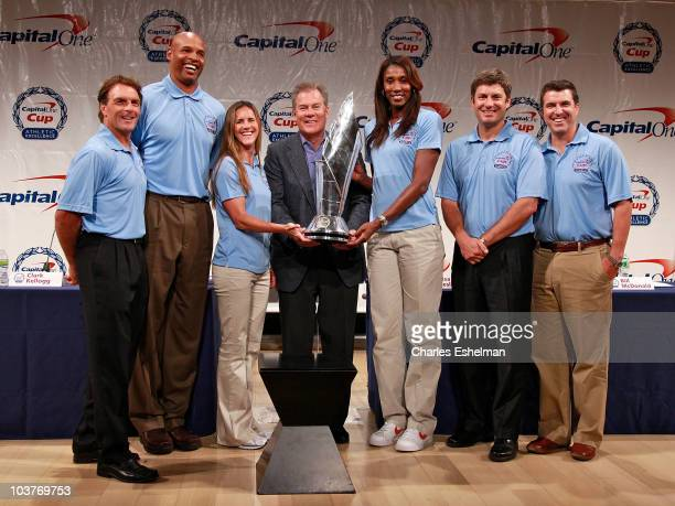 Athletes Doug Flutie Clark Kellogg Brandi Chastain Capital One CMO Bill McDonald athletes Lisa Leslie Robin Ventura and ESPN sports journalist Rece...