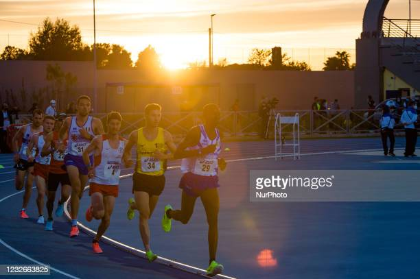 Athletes during the 10,000 meters race at the National Championships in the Mario Saverio Cozzoli stadium in Molfetta on May 2, 2021. In Molfetta,...