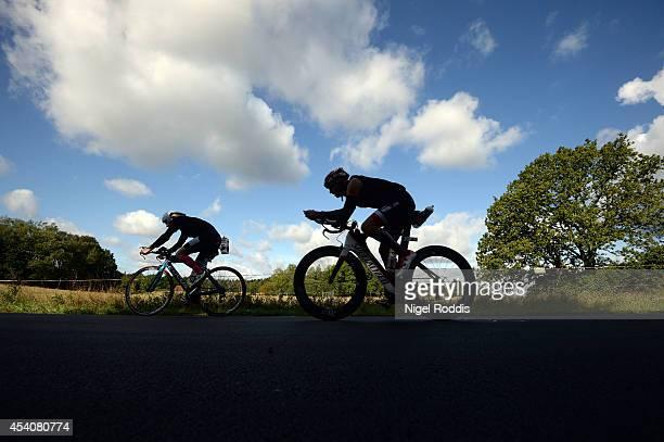 Athletes during the bike section of Ironman Copenhagen on August 24 2014 in Copenhagen Denmark