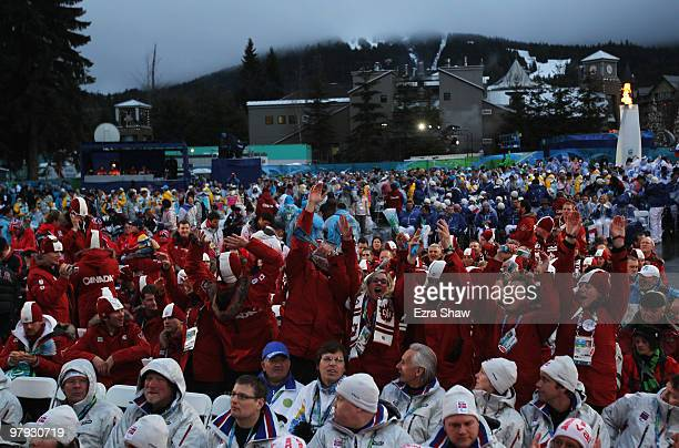 Athletes enjoy the atmosphere during the Closing Ceremony on Day 10 of the 2010 Vancouver Winter Paralympics at Whistler Medals Plaza on March 21,...
