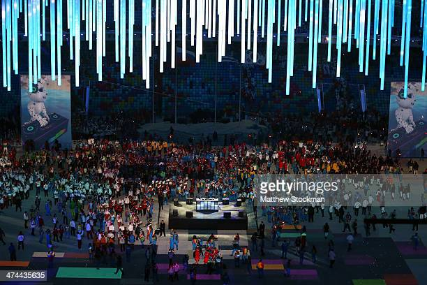 Athletes enjoy the closing party after the 2014 Sochi Winter Olympics Closing Ceremony at Fisht Olympic Stadium on February 23 2014 in Sochi Russia