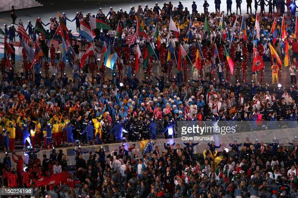 Athletes enter the stadium during the Closing Ceremony on Day 16 of the London 2012 Olympic Games at Olympic Stadium on August 12 2012 in London...