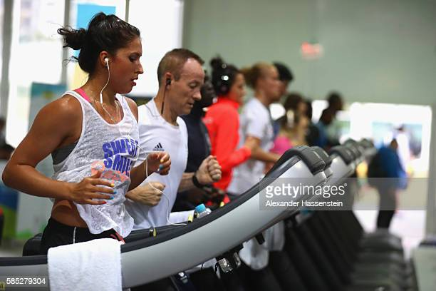 Athletes exercise at the Fitness Center of the Olympic Village ahead of the Rio 2016 Olympic Games on August 2 2016 in Rio de Janeiro Brazil