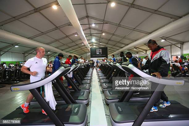 Athletes exercise at the Fitness Center of the Olympic Village ahead of the Rio 2016 Olympic Games on August 2, 2016 in Rio de Janeiro, Brazil.