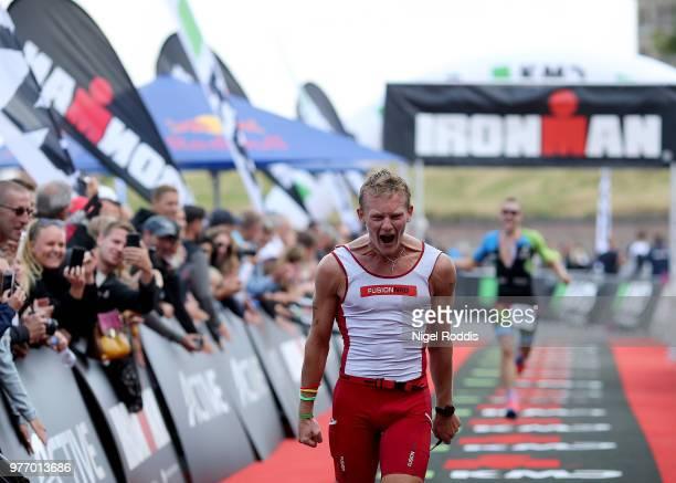 Athletes finish KMD Ironman 70.3 European Championship Elsinoreon June 17, 2018 in Helsingor, Denmark.