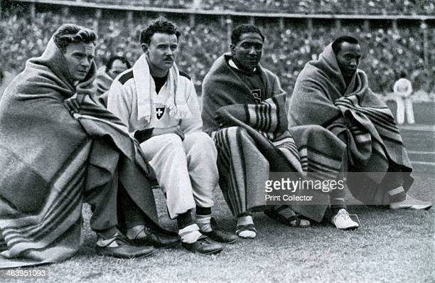 Athletes Frank Wykoff Paul Hanni Ralph Metcalfe and Jesse Owens Berlin Olympics 1936 Americans Owens Metcalfe and Wykoff finished first second and...