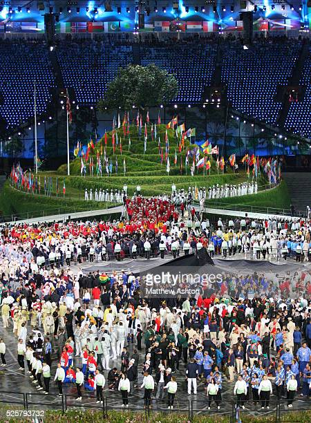 Athletes from around the world at the London 2012 Olympic opening ceremony during the 2012 London Olympic Summer Games at the Olympic Stadium London...