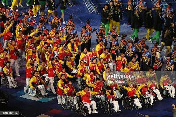 Athletes from China enter the stadium during the Opening Ceremony of the London 2012 Paralympics at the Olympic Stadium on August 29 2012 in London...