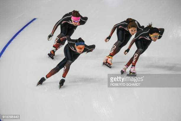 Athletes from China take part in a training session of women's speed skating at the Gangneung Oval before the Pyeongchang 2018 Winter Olympic Games...