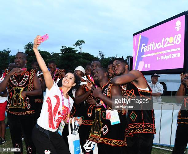 Athletes from England and Cameron pose for a selfie at Jezzine Barracks during an official welcome ceremony ahead of the 2018 Commonwealth Games on...