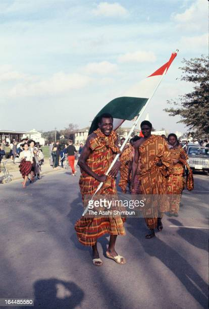 Athletes from Ghana are seen at the Athletes Village welcome ceremony ahead of Tokyo Olympic on October 1 1964 in Tokyo Japan