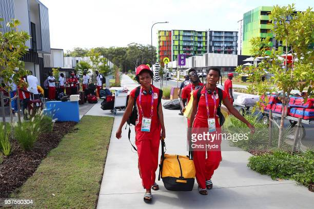 Athletes from Ghana arrive at the village ahead of the 2018 Gold Coast Commonwealth Games on March 25 2018 in Gold Coast Australia