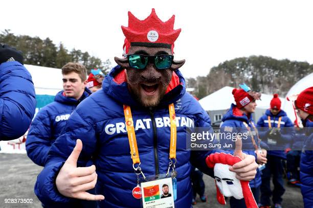 Athletes from Great Britain attend their welcome ceremony at the PyeongChang Olympic Village ahead of the PyeongChang 2018 Paralympic Games on March...