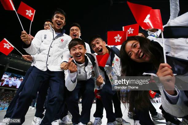 Athletes from Hong Kong arrive during the Opening Ceremony ahead of the 2014 Asian Games at Incheon Asiad Main Stadium on September 19, 2014 in...