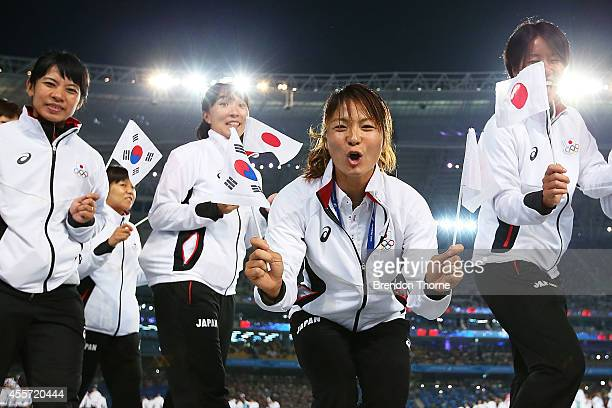 Athletes from Japan arrive during the Opening Ceremony ahead of the 2014 Asian Games at Incheon Asiad Main Stadium on September 19, 2014 in Incheon,...
