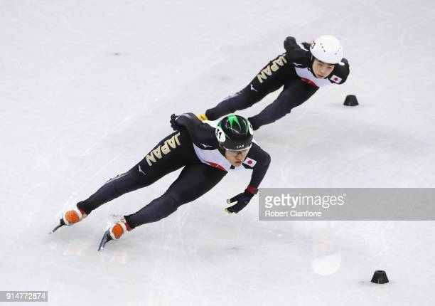 Athletes from Japan train during Short Track Speed Skating practice ahead of the PyeongChang 2018 Winter Olympic Games at Gangneung Ice Arena on...