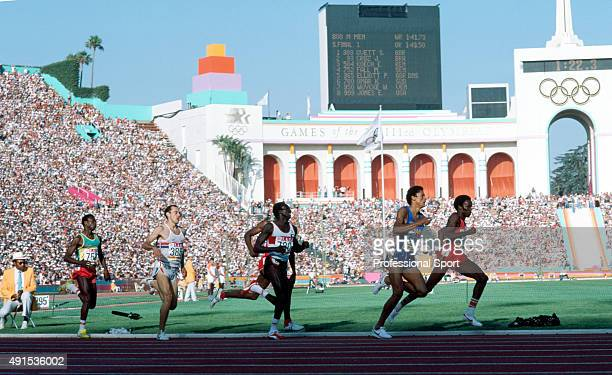 Heat one of the semifinal of the men's 800 metres event during the Summer Olympic Games at the Coliseum Stadium in Los Angeles circa 1984 Left to...