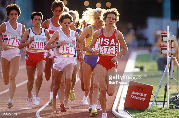 Olympic Games Los Angeles USA Women's 3000 Metres Final USA's Mary DeckerSlaney leads the race followed closely by Great Britain's Zola Budd before...