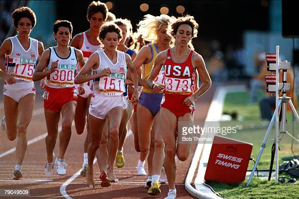 Volume 2 Page 27 Picture 5 Sport Olympics Women's 3000metre final at the 1984 Los Angeles Olympics USA's Mary Decker leads Great Britain's Zola Budd...