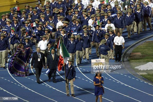 Athletes from Mexico wave to the crowd during the opening ceremony of the XIX Central American and Caribbean Games Fireworks at the Flor Blanca...