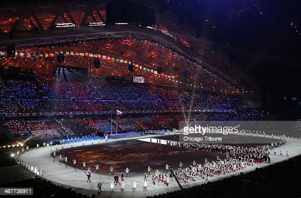 Athletes from Russia march during the Opening Ceremony for the Winter Olympics at Fisht Olympic Stadium in Sochi Russia Friday Feb 7 2014