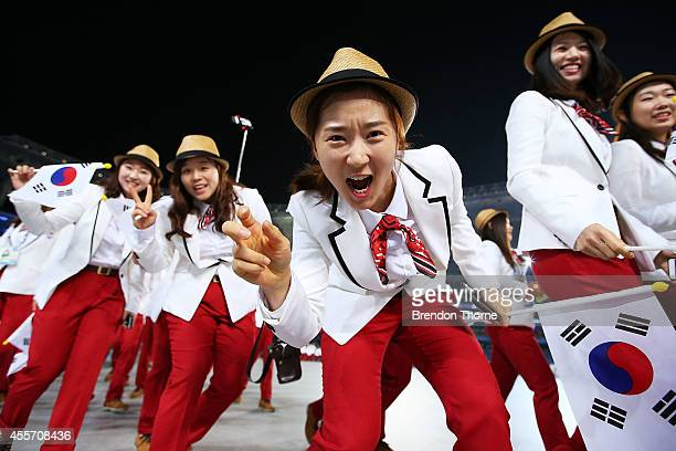 Athletes from South Korea arrive during the Opening Ceremony ahead of the 2014 Asian Games at Incheon Asiad Main Stadium on September 19, 2014 in...