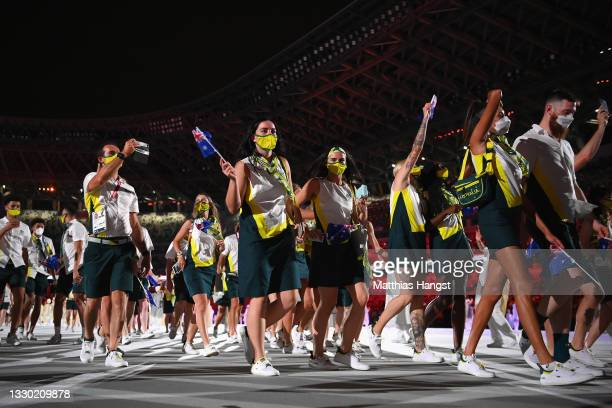 Athletes from Team Australia enter during the Opening Ceremony of the Tokyo 2020 Olympic Games at Olympic Stadium on July 23, 2021 in Tokyo, Japan.