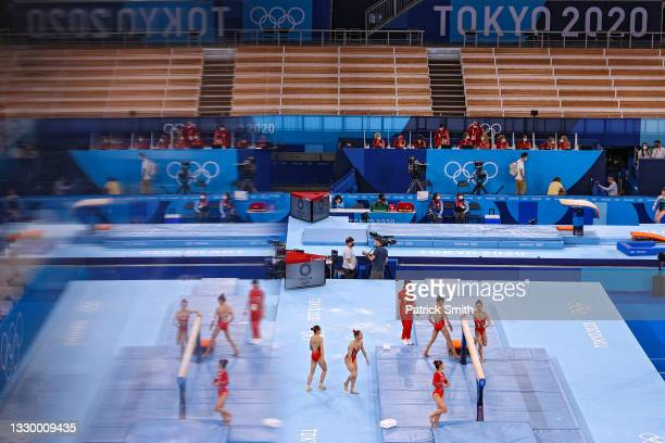 Athletes from Team China prepare to train on balance beam during Women's Podium Training ahead of the Tokyo 2020 Olympic Games at Ariake Gymnastics...