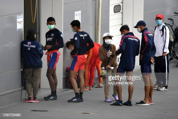 Athletes from Thailand and the Philippines line up for weigh-in before their competition at the 2021 World Rowing Asia-Oceania Olympic and Paralympic...