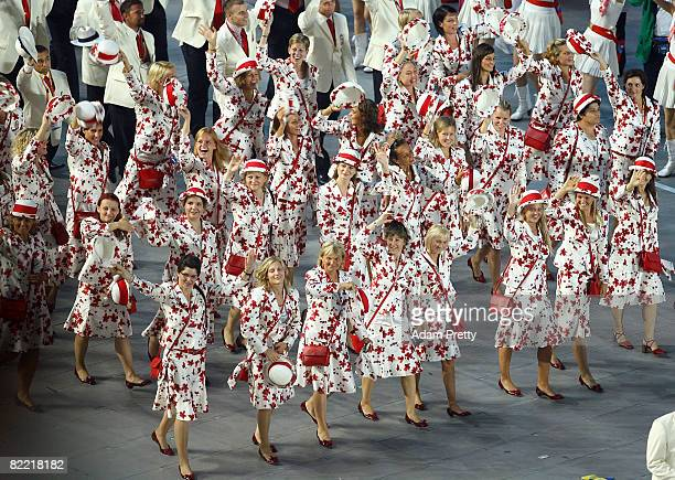 Athletes from the delegation from Hungary parade during the Opening Ceremony for the 2008 Beijing Summer Olympics at the National Stadium on August...