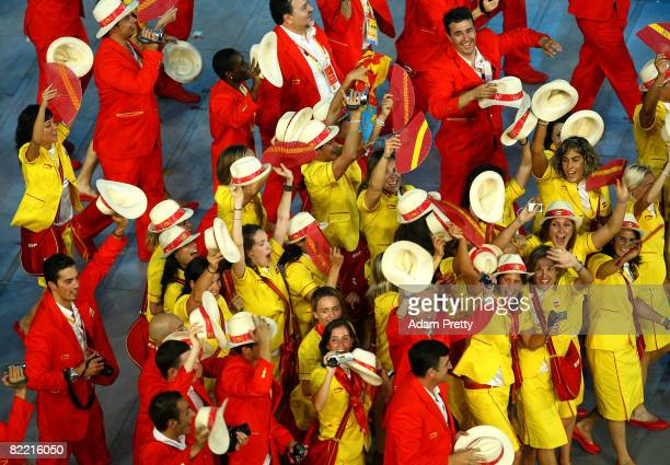 Athletes from the delegation from Spain parade during the Opening Ceremony for the 2008 Beijing Summer Olympics at the National Stadium on August 8,...