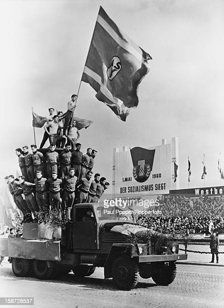 Athletes from the German Democratic Republic in formation during a May Day military parade in East Berlin Germany 1st May 1960