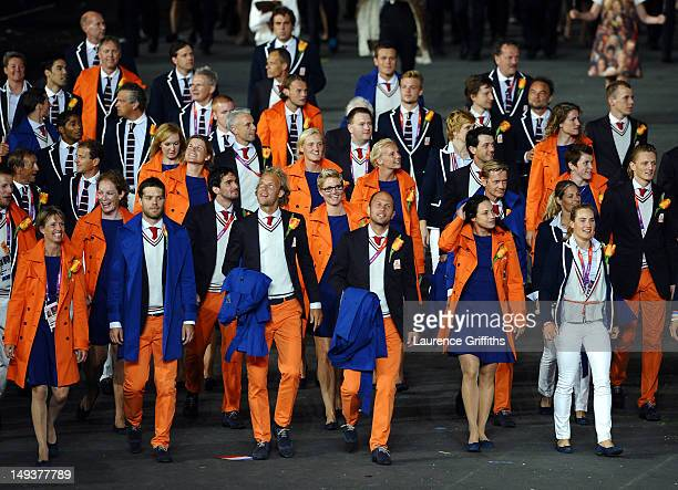 Athletes from the Netherlands enter the stadium during the Opening Ceremony of the London 2012 Olympic Games at the Olympic Stadium on July 27 2012...
