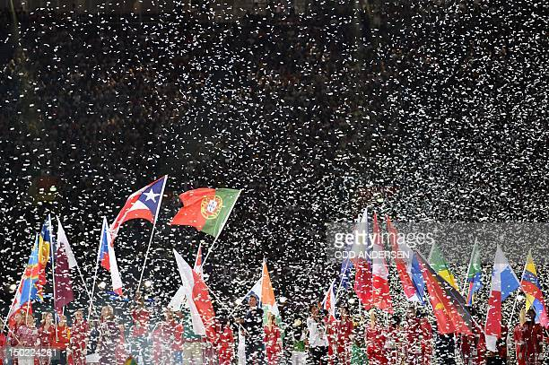 Athletes from various nations parade with their respective flags during the closing ceremony of the 2012 London Olympic Games at Olympic Stadium on...