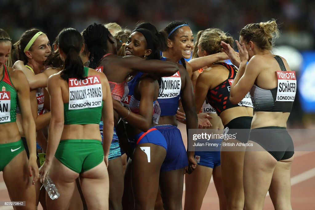 Athletes gather after the Women's Heptathlon 800 metres Heptathlon during day three of the 16th IAAF World Athletics Championships London 2017 at The London Stadium on August 6, 2017 in London, United Kingdom.