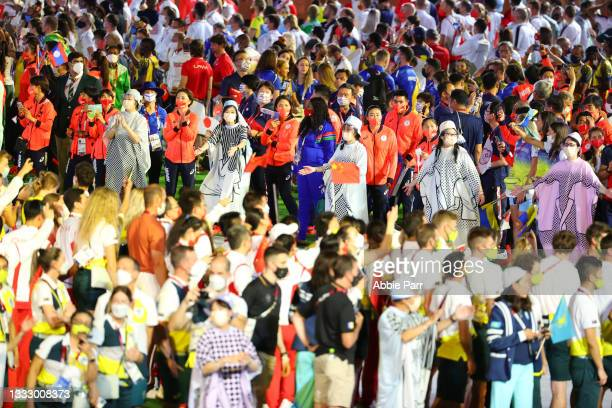 Athletes gather during the Tokyo 2020 Olympic Games closing ceremony on day sixteen at Olympic Stadium on August 08, 2021 in Tokyo, Japan.