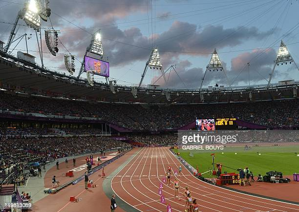 Athletes get ready before the start of the women's heptathlon 800m heats at the athletics event of the London 2012 Olympic Games on August 4 2012 in...