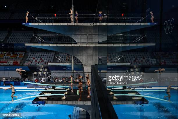 Athletes in action during a diving training session of the Tokyo Olympic Games at Tokyo Aquatics Centre on July 26, 2021 in Tokyo, Japan.