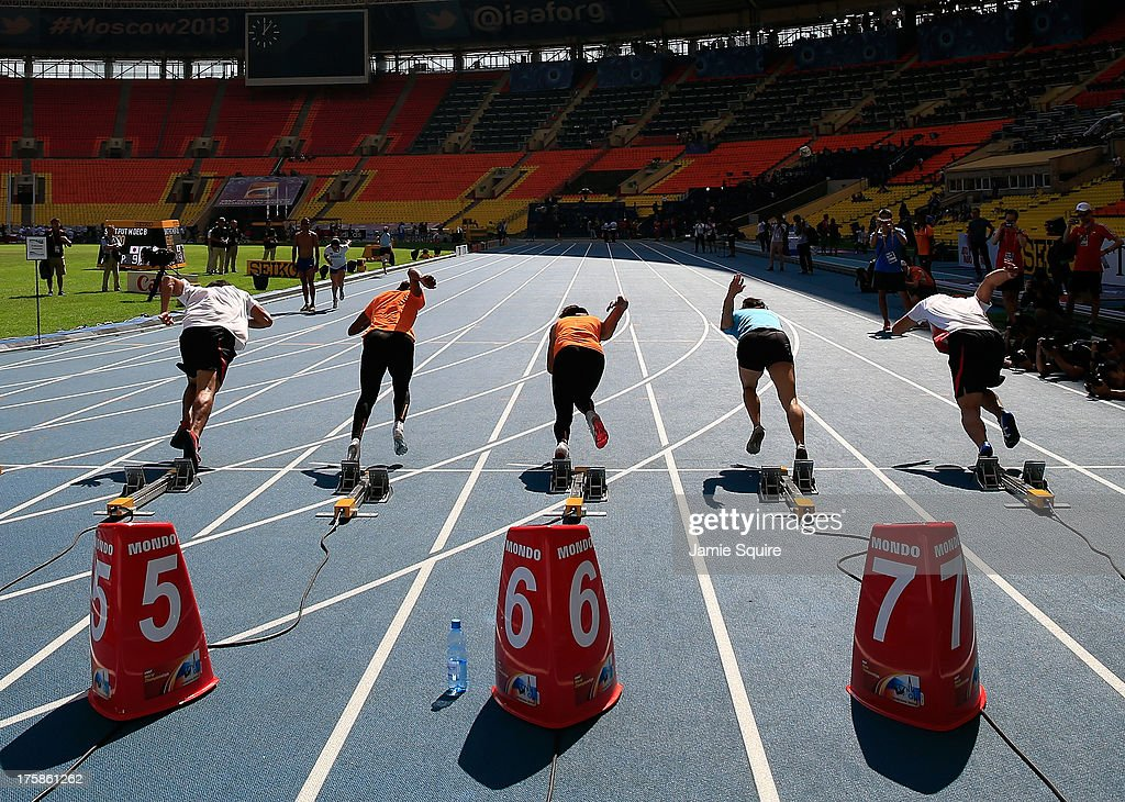 Athletes in action during a practice start ahead of the 14th IAAF World Athletics Championships Moscow 2013 at the Luzhniki Sports Complex on August 9, 2013 in Moscow, Russia.