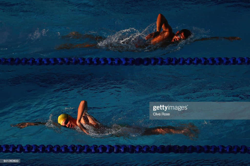 Athletes in action during swim training ahead of the 2018 Commonwealth Games at the Optus Aquatics centre on April 3, 2018 in Gold Coast, Australia.