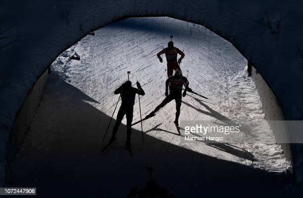 Athletes in action during the Official Training for the IBU Biathlon World Cup Men's 10 km Sprint on December 13, 2018 in Hochfilzen, Austria.