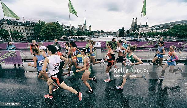 Athletes in action during the Womens Marathon at Stadium Letzigrund on August 16 2014 in Zurich Switzerland