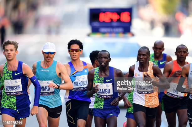 Athletes in the Men's Professional Division compete at the start of the TCS New York City Marathon on November 03 2019 in New York City